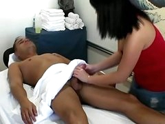Handjob and blowjob from asian hottie
