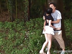 She is hawt and goes wild in the forest. Check out this beauty named Tsubomi, a young asian slut that can't live without to suck a hard dick, no matter if that babe does it in the comfort of her abode or in the middle of a forest! She kneels like a good Japanese bitch and gives oral with obedience whilst preparing for a hard fuck