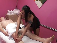 Gentle cook jerking and oral sex performed during massage